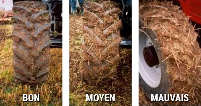3 cas de terre agglomérée entre les barrettes du pneu
